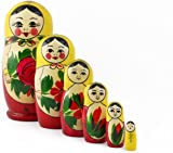 Heka Naturals Matryoshka Russian Nesting Dolls Semenov Classic Babushka Hand Made in Russia 6 pieces 13,5 cm Yellow Top Wooden Gift Toy