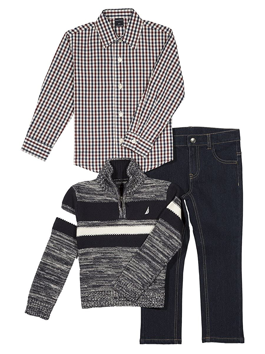 Nautica Boys' Three Piece Set with Zip Sweater, Woven Shirt, and Denim Pant N230G73Q
