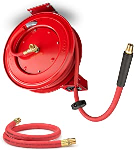TEKTON 46848 50-Foot x 1/2-Inch I.D. Auto Rewind Air Hose Reel with TEKTON 46362 1/2-Inch I.D. by 3-Foot Rubber Lead-In Air Hose (250 PSI )