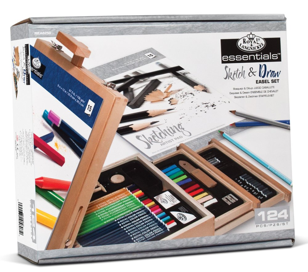 Amazon Com Royal Langnickel 124 Piece Sketching And Drawing Easel