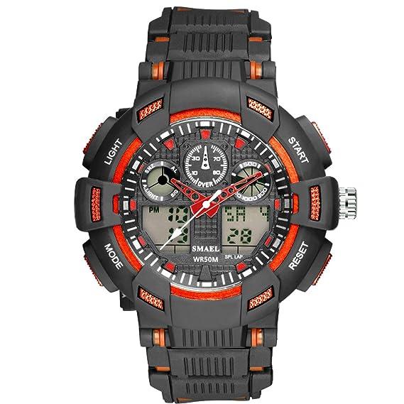 Beydodo Reloj Adolescente Reloj Hombre Relojes Electronicos Reloj de Doble Pantalla Relojes LED Reloj Hombre Luminoso Reloj Hombre Moda Negro Naranja: ...