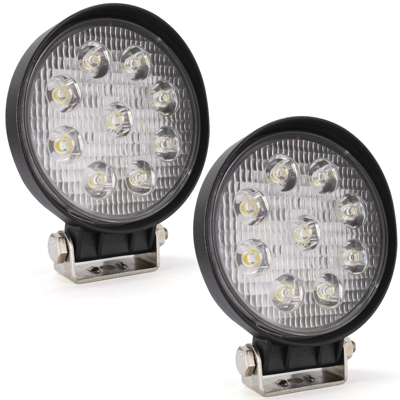 YuanGu 27W LED Spotlight Work Lamp,Slim Round Off-Road LED Fog Light Lamp IP67 6000K 30 Degree for Offroad Truck 4X4 Trunk ATV Boat SUV Pack of 2