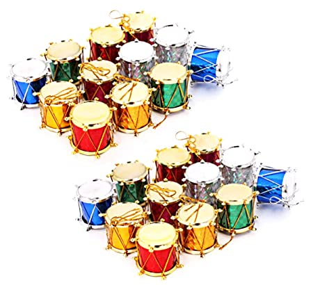 Christmas Drum Decor.Xunlong Christmas Cute Decorations Xmas Party Drums Ornaments Holiday Wedding Party Pendant Decor For Christmas Tree 24 Pack