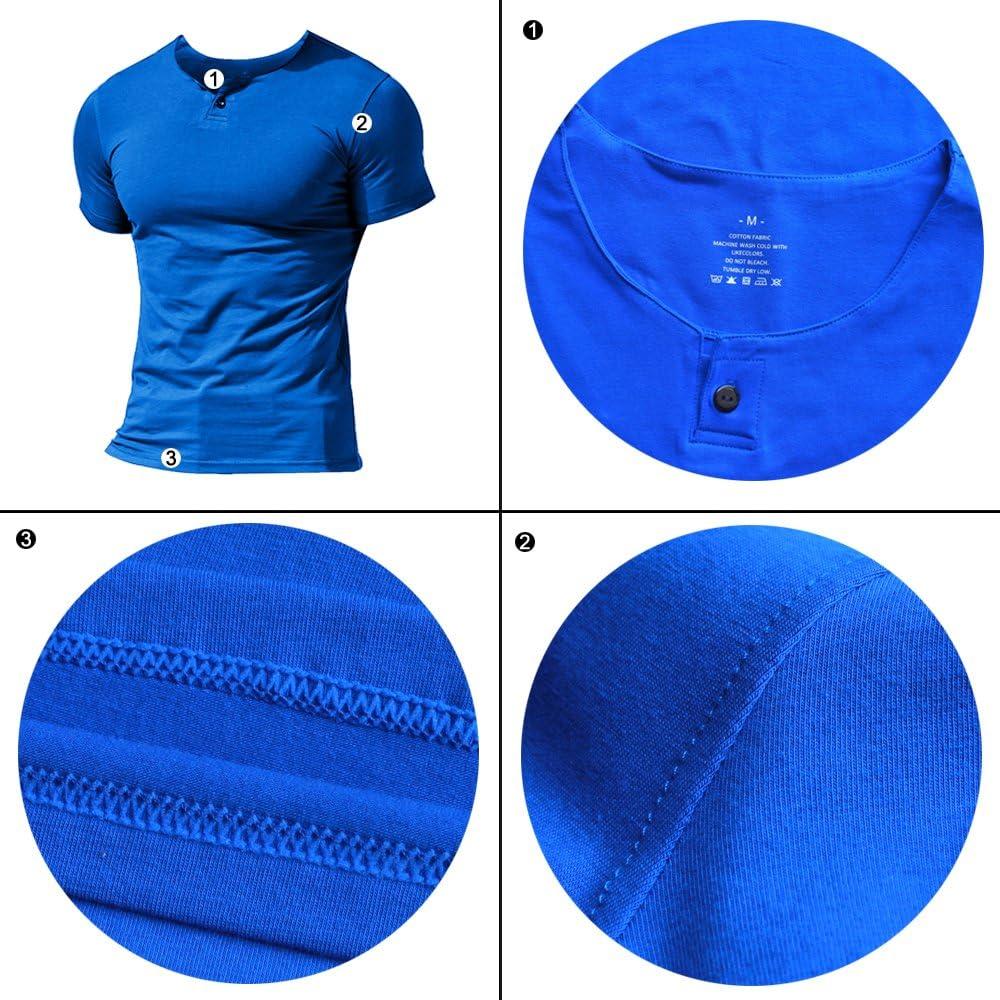 Hommes D/écontract/ée Manche Courte Henleys T-Shirt Unique Bouton Patte de Boutonnage Cou uni Chemises en Coton