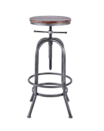 Articial Retro Industrial Bar Stool Solid Wood and Metal Height Adjustable Swivel Counter Height Dining Chair Assembly not Required Silver