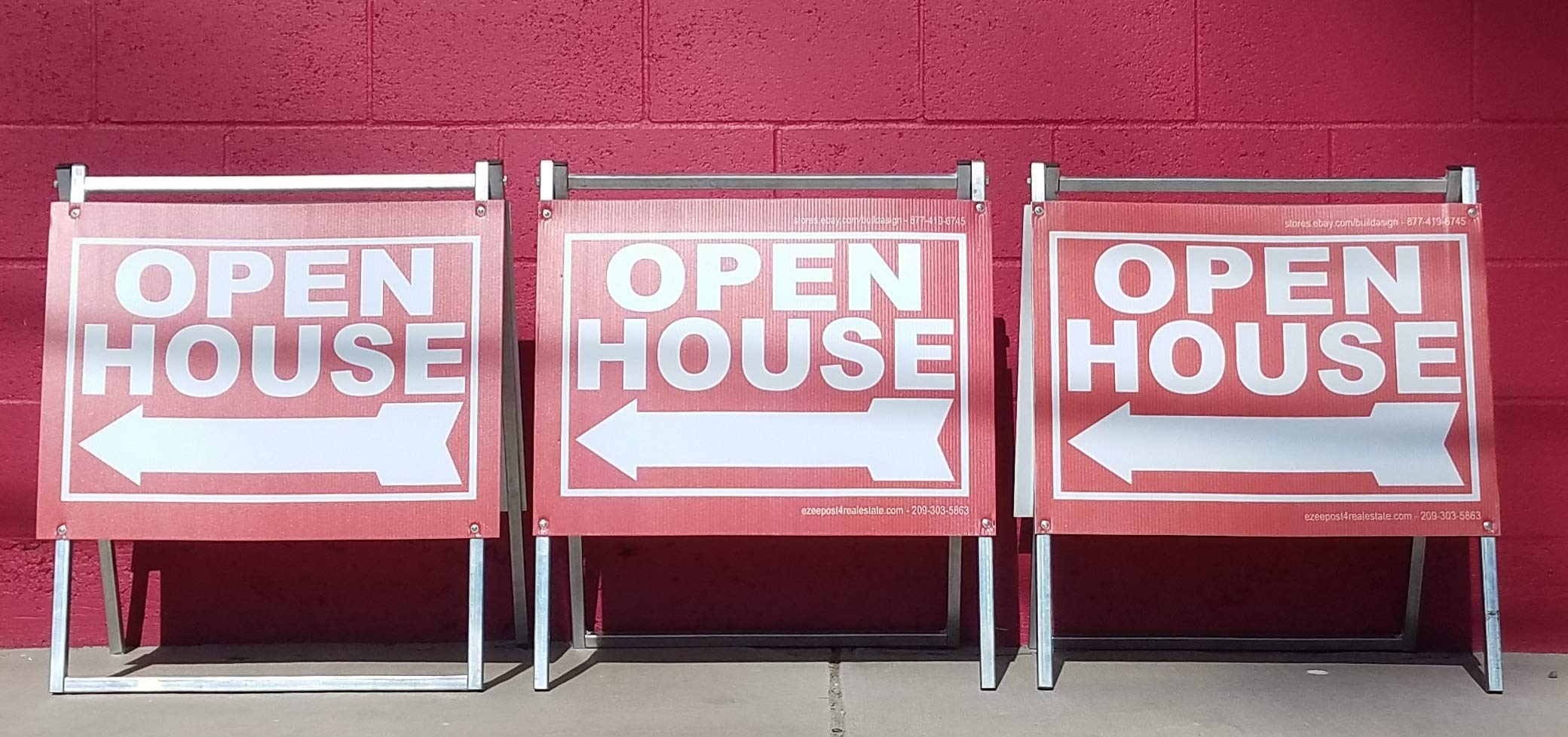 EZee Post Open House Signs 3-Pack Kit RED