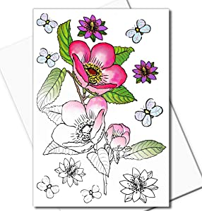 Art Eclect Adult Coloring Flower Greeting Cards for Birthdays, Anniversary, Thank You and Sympathy Cards (10 Cards With 10 Different Unique Designs and 10 White Envelopes, Set Flowers B/White)