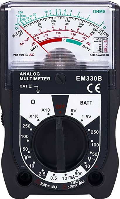 Power Gear Multimeter, 14 Range, Battery Tester, 250V, Analog, Measures  Voltage (AC, DC) and Resistance, 6-Function Non-Recording, Black