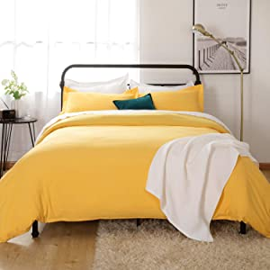 Bedsure Washed Duvet Cover Full/Queen Size Set with Zipper Closure, Ultra Soft Hypoallergenic 3 Pieces Comforter Cover Sets (1 Duvet Cover + 2 Pillow Shams), 90x90 inches, Yellow