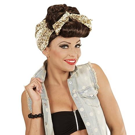 89c3d8951cc60 Acconciatura finta stile rockabilly Parrucca da donna pin up girl marrone  Parrucchino di carnevale da donna