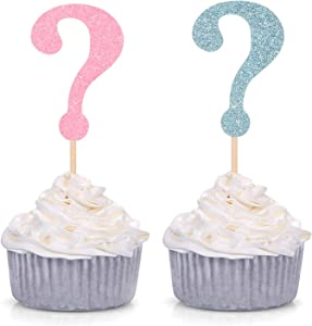 Set of 24 Glitter Question Mark Cupcake Toppers Boy or Girl Party Decoration Picks - Blue and Pink