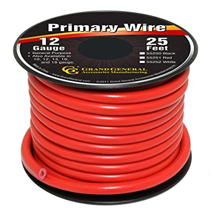 amazon com grand general 55251 red 12 gauge primary wire automotive rh amazon com 12 gauge wire thickness 12 gauge wire rating