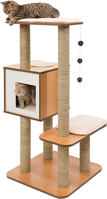Amazon.com: Mueble Vesper para gato, V- Base alta, Walnut ...