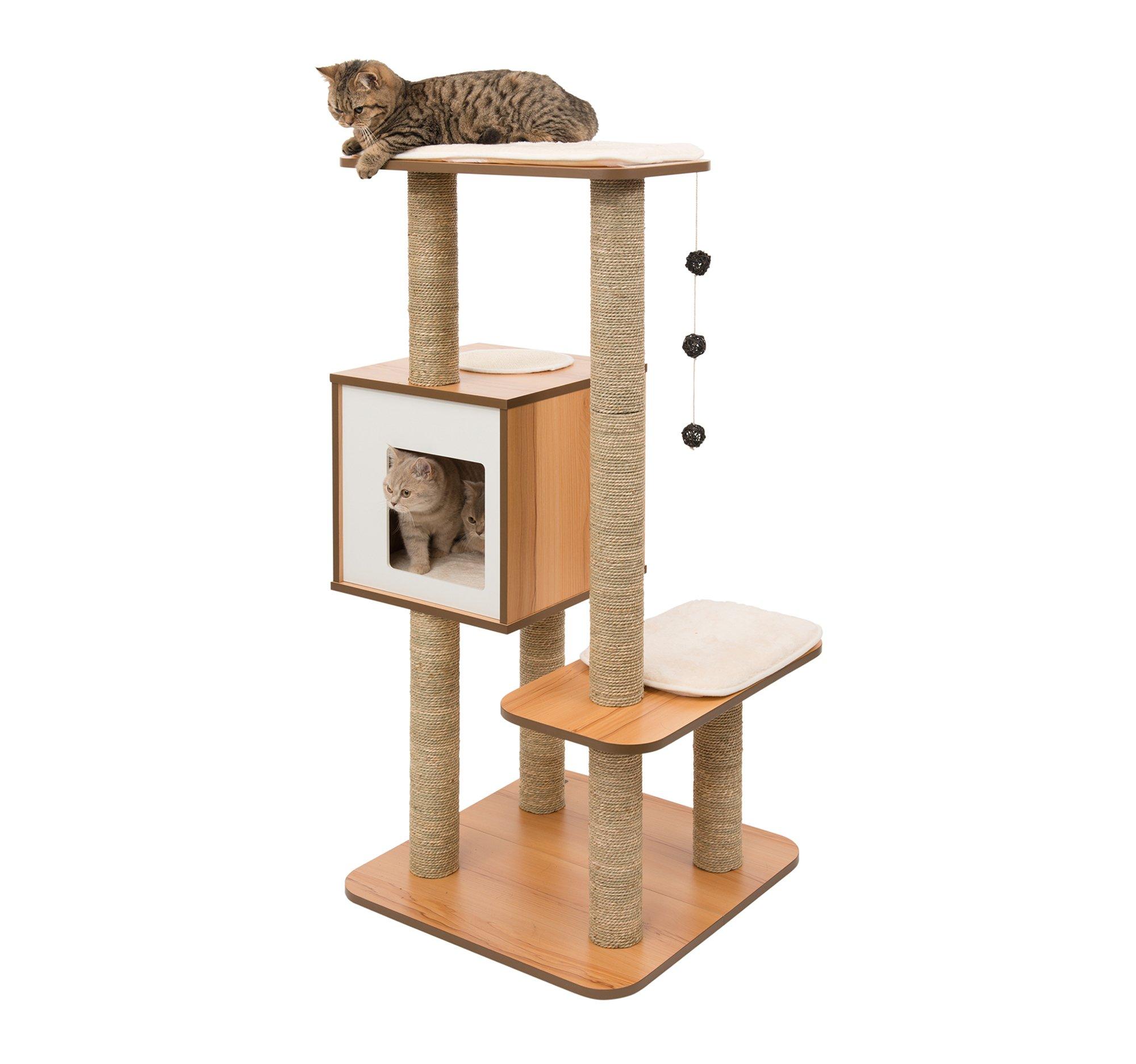 Vesper Cat Tree Scratching Post with Condo - Walnut Furniture by Vesper