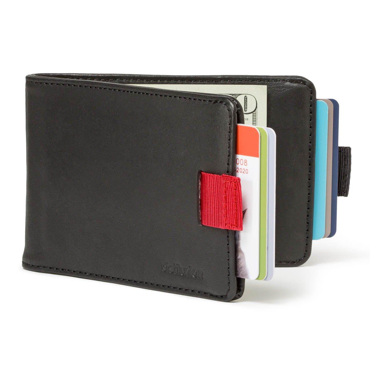 Distil Union - Minimalist Leather Slim Bifold Wallets with Money Clip, Credit Card Holder (Ink with Flexlock)