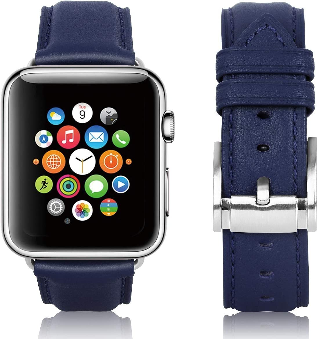 JIKE watch Bands Compatible with Apple Watch Band 38mm 40mm 42mm 44mm, Top Grain Leather Smart Watch Strap Compatible for Men Women iWatch Series 6/ 5 /4 /3 /2 /1,SE (dark blue/silver buckle, 42mm44mm)