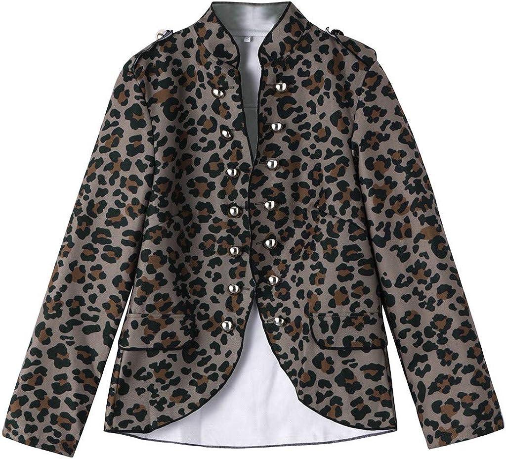 POachers Blazer Femme /Él/égant Double Breasted Boucle OL /à Manches Longues Blouson R/étro Impression Veste Blazer Slim Fit Veste Tailleur Cintr/ée Habill/ée Costume Jacket Manteau