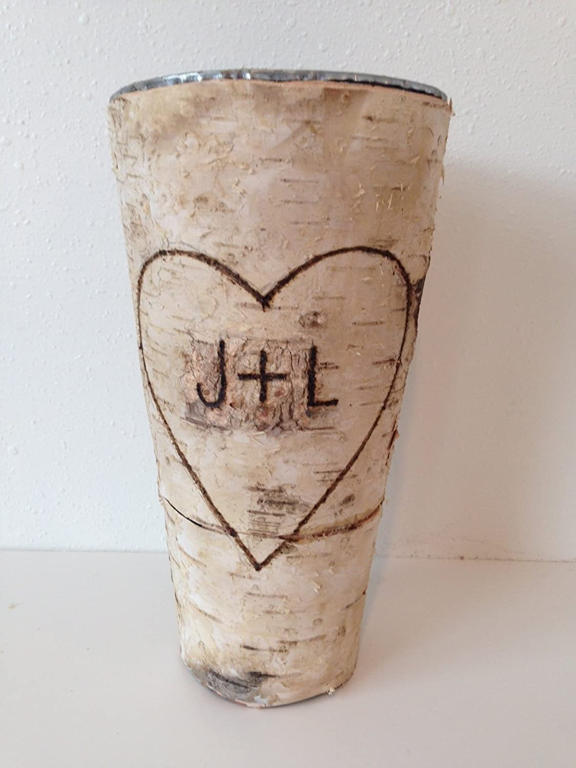 Personalized 9 Tall Custom Birch Bark Rustic Vase Wedding Centerpiece or Gift