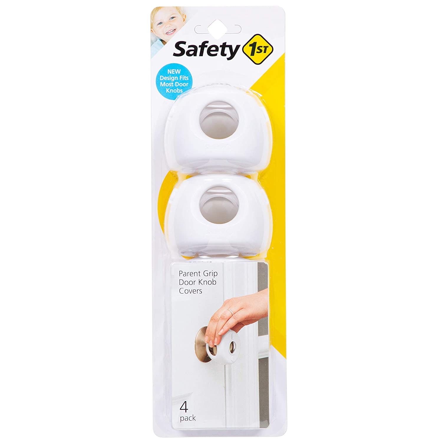 Safety 1st Parent Grip Door Knob Covers, White, One Size (Pack of 4) (HS3260600)