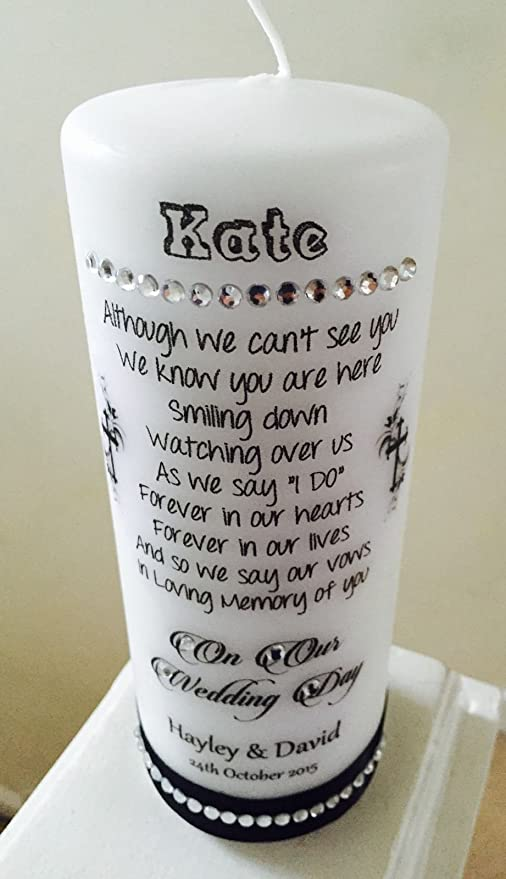Personalised Memorial Absence Remembrance Candles For Wedding ...