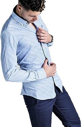 Ridebike Hombre Camisa Azul con topitos Blancos y Azules Vespa Ajuste Slim fit Diseño del puño a Juego con el Cuello