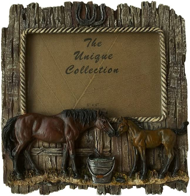 "Comfy Hour Wild Western Rustic Wood Imitated Double Horse 6"" x 4"" Photo Picture Frame, Aged Old Fashioned - Brown"