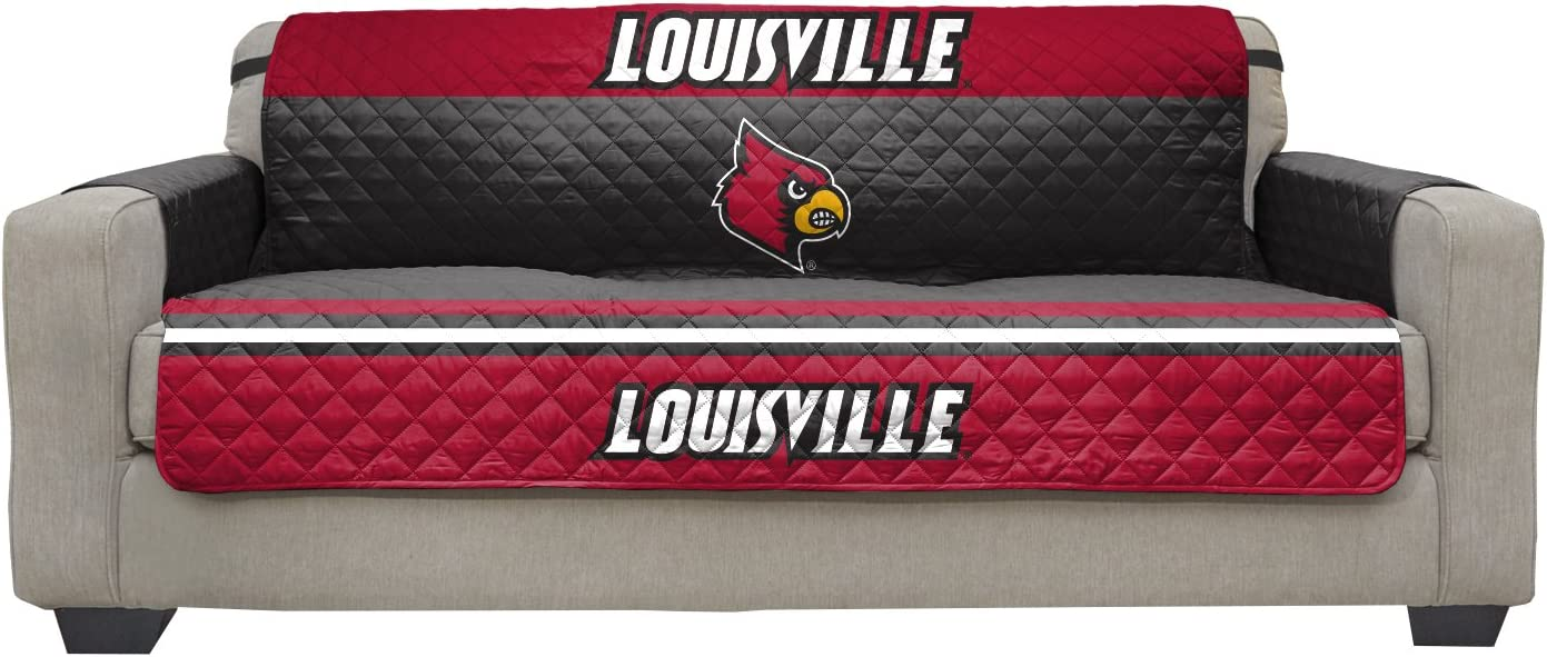 Reversible Couch Cover - College Team Sofa Slipcover Set / Furniture Protector - NCAA Officially Licensed (Couch / Sofa, University of Louisville Cardinals)