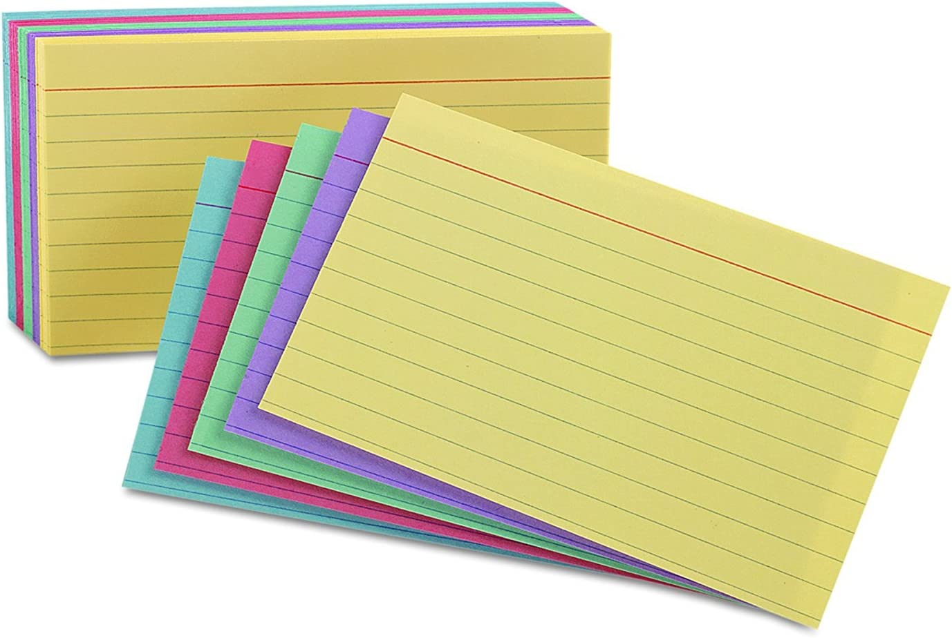 Assorted Colors Oxford Index Cards Ruled 5 x 8 6 Pack of 100 Cards 35810 600 Cards Total