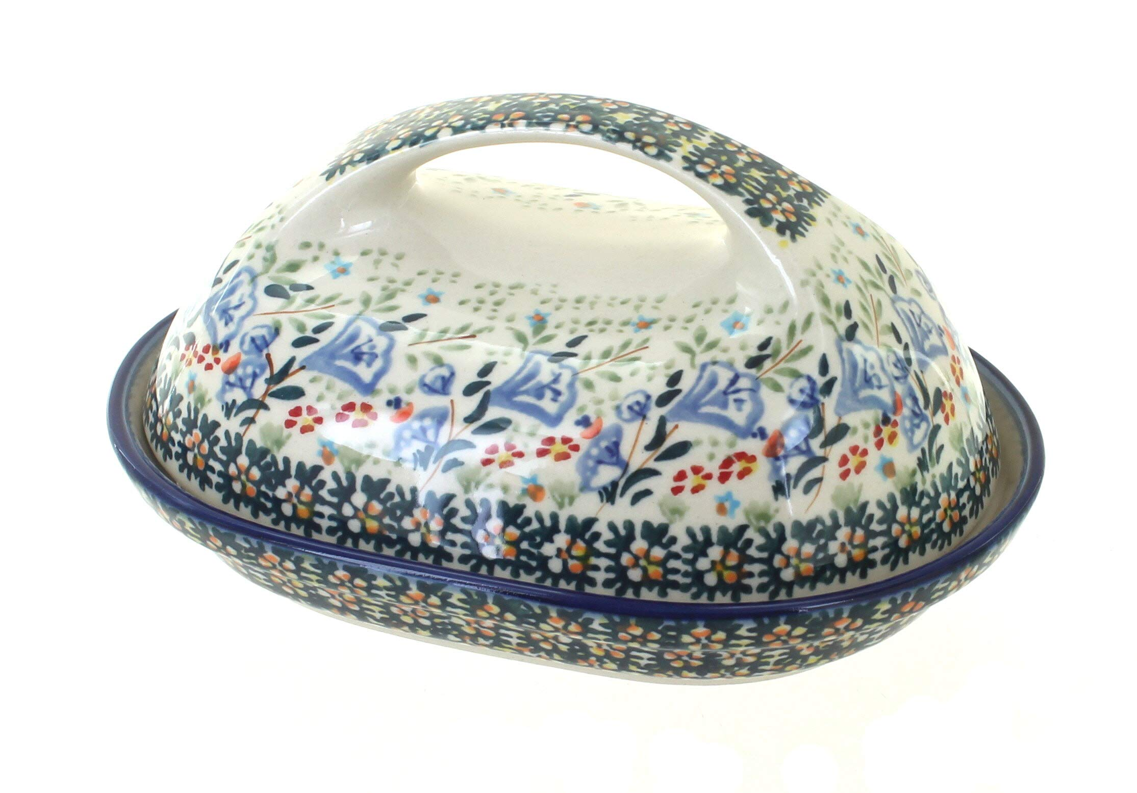 Blue Rose Polish Pottery Periwinkle Butter Dish
