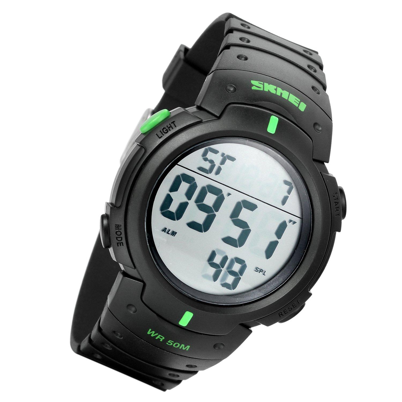 Lancardo Reloj Deportivo Impermeable de 50m de Multifunciones Pulsera Digital con Luces Gran Dial Casual para Actividades Deportes Exteriores para Hombre (Verde)