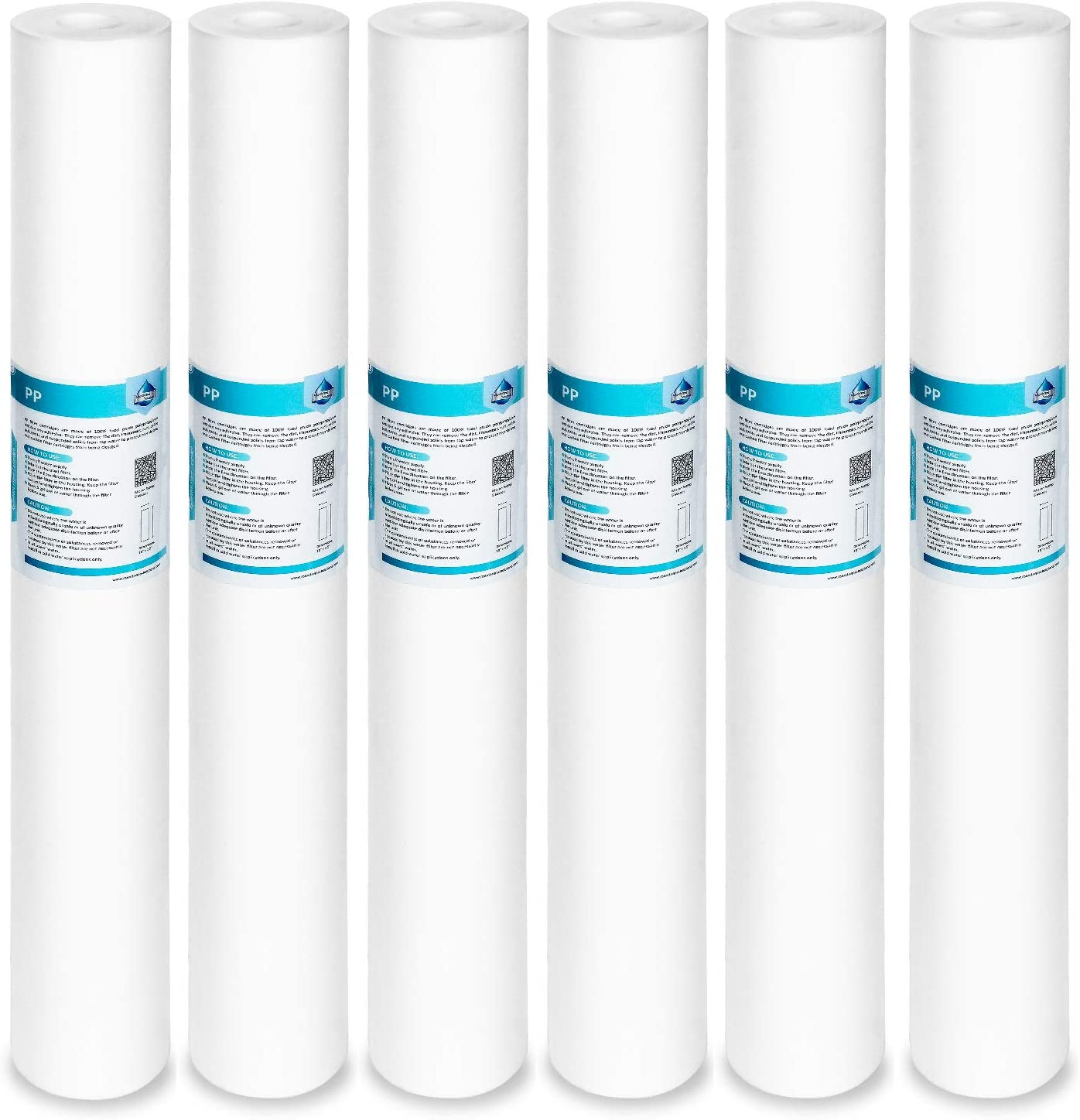 "Membrane Solutions 5 Micron Sediment Water Filter Replacement Polypropylene Cartridge 20""x2.5"" for Whole House Filter System - 6 Pack"