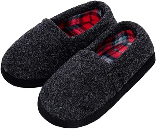 New Jingle Bells Tartan Plaid Slide Slippers with Faux Fur in Assorted Sizes