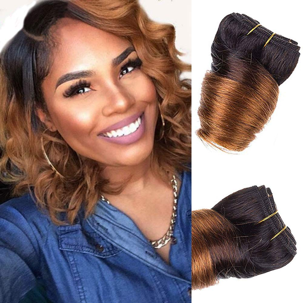 Black Friday Deals 2018 Bob Peruvian Loose Wave 4 Bundles 200g Wholesale Lots 12 Color Ombre Weave Spring Curly Wet And Wavy Human Hair Extensions (T1B/Red) lilika