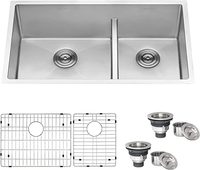 Ruvati 33 Inch Low Divide Undermount Tight Radius 60 40 Double Bowl 16 Gauge Stainless Steel Kitchen Sink Rvh7419 Double Bowl Amazon Canada