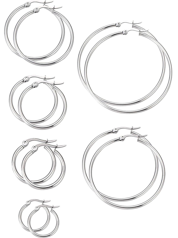 c565d72534844 6 Pairs Stainless Steel Hoop Earrings Set Ear Hoop Round Ear Ring Set, 6  Sizes