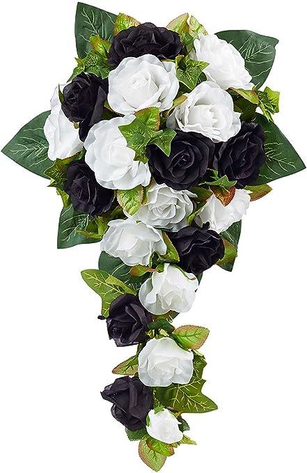 Bouquet Sposa Nero.Nero E Bianco Seta Con Motivo Rosa Da Sposa Bouquet Amazon It Casa E Cucina