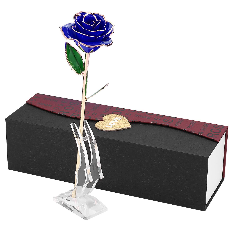 U-HOME Konservierte Rose, 24k Gold liebevolles Blumen Rose mit Echtem Grünen Blatt für Frau Freundin Liebhaber, Valentinstag/Muttertag/Geburtstag/Hochzeitstag/Jahresta Geschenke mit Geschenkbox U-Homeweee