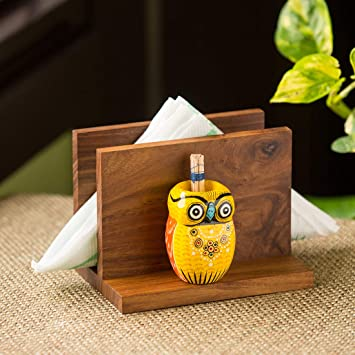 Buy Exclusivelane An Owl S Vibrance Décor Wooden Paper Napkin Holders For Dining Table Tissue Paper Holder For Table Tissue Stand With Toothpick Holder Online At Low Prices In India Amazon In