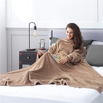 Plaid avec Manche et Poche Portable en Microfibre 170x200 cm Anthracite Couverture TV Doux et Confortbale Bedsure Plaid /à Manche Polaire