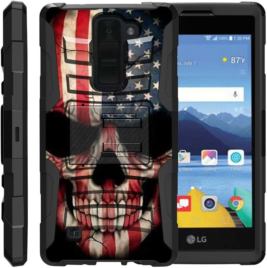 TurtleArmor | Compatible with LG K8V Case | LG K8 V Case | VS500 [Hyper Shock] Hybrid Dual Layer Armor Holster Belt Clip Case Kickstand - US Flag Skull