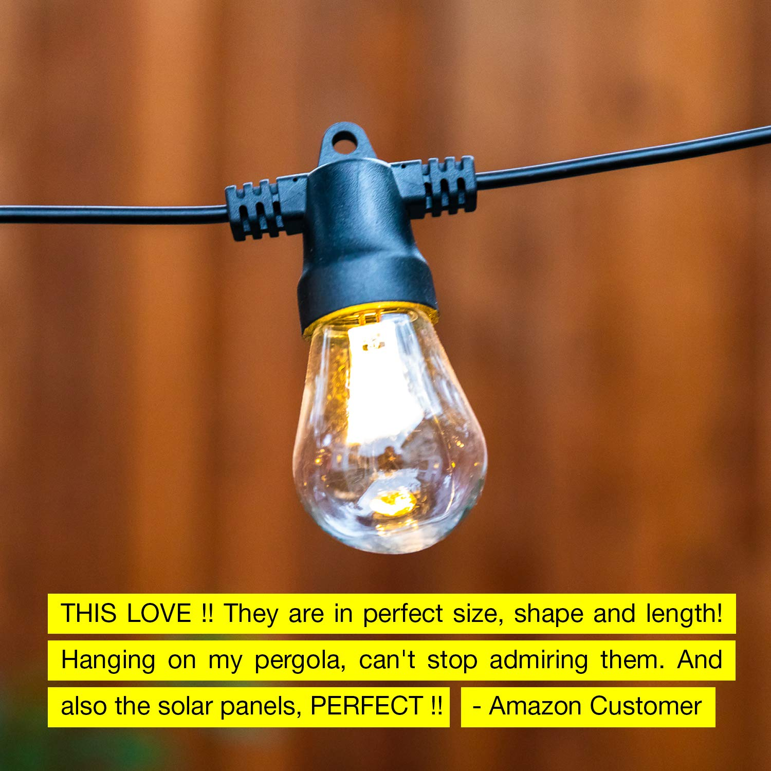 Brightech Ambience Pro 27 Ft Commercial Grade Market Lights Create Bistro Ambience On Your Deck Porch Waterproof Solar LED Outdoor String Lights Hanging 2W Vintage Edison Bulbs Pergola