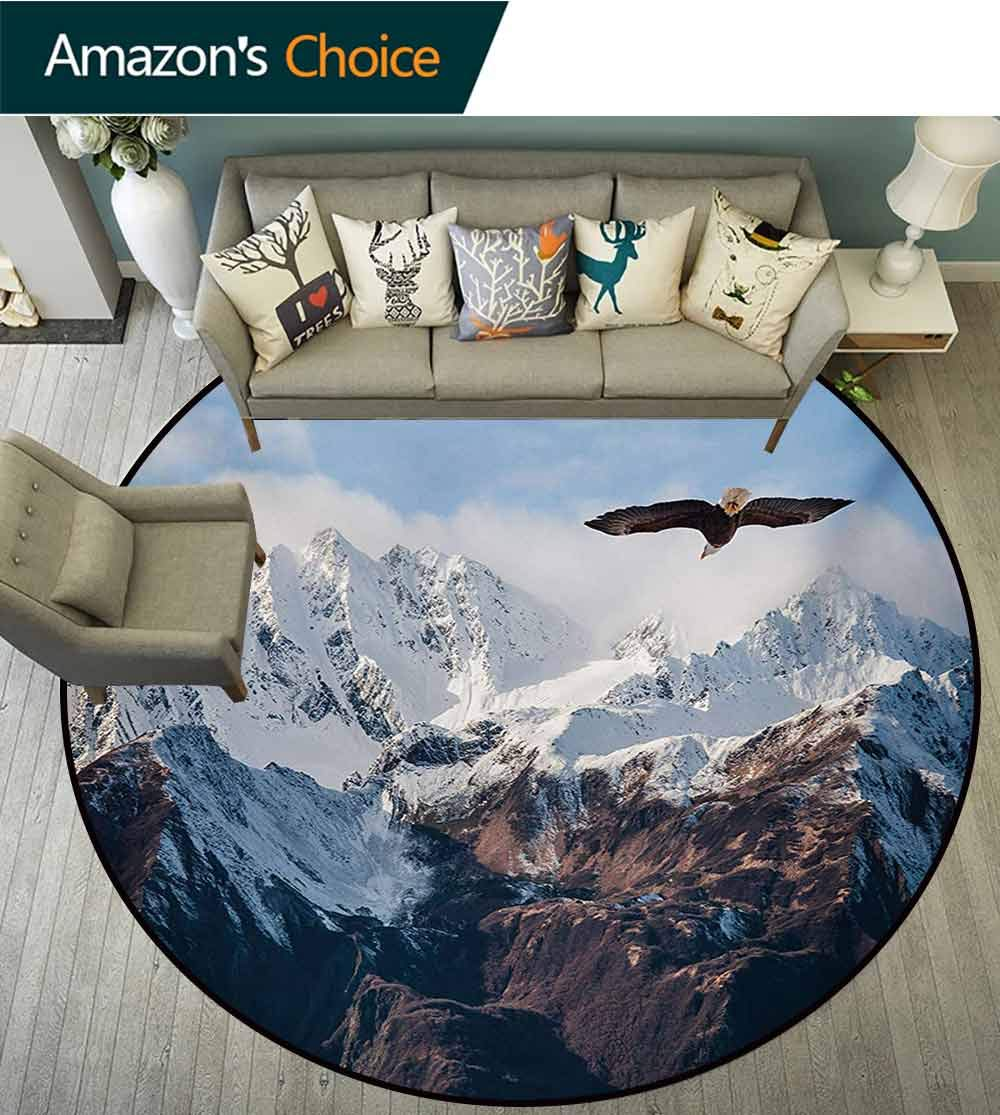RUGSMAT Mountain Modern Simple Round Rug,Frozen Peaks Tops of The Mountain with A Flying Eagle Free in Nature Photo Pattern Round Area Rugs Thin,Diameter-71 Inch Brown White Blue