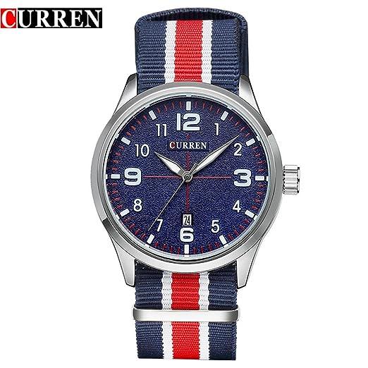 CURREN reloj de cuarzo deportivo para hombre sumergible con esfera azul 8195G: Amazon.es: Relojes
