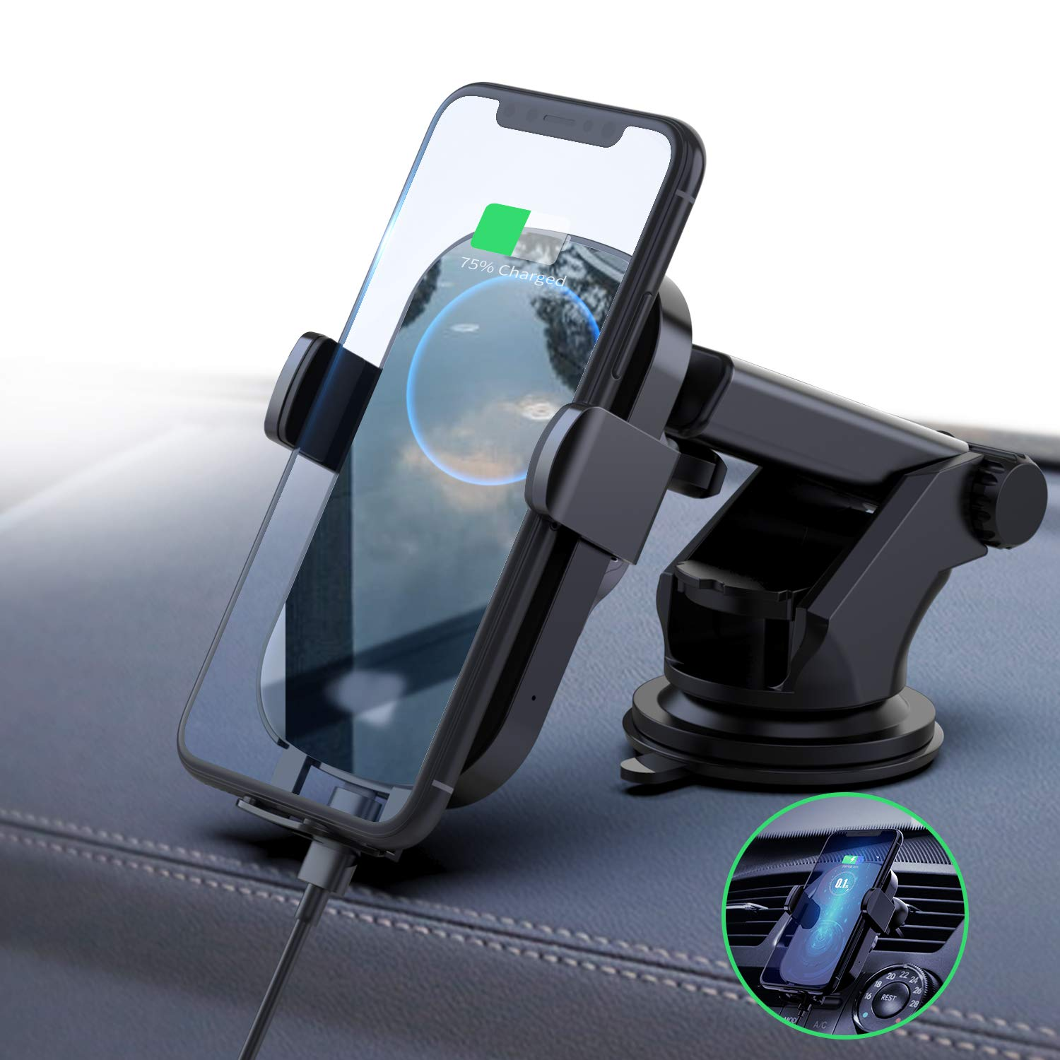 FireKylin Wireless Car Charger Mount, Auto-Clamping 10W 7.5W Qi Fast Charging Car Phone Holder Windshield Dashboard Air Vent Compatible with iPhone Xs Max XR X 8 Plus, Samsung S10 S10+ S9 S9+ S8 S8+