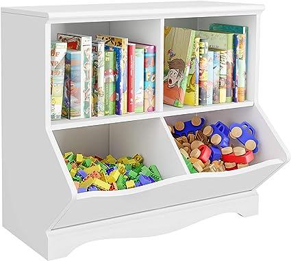 HOMECHO Estantería para Niños Armario Infantil con 4 Compartimentos de Almacenamiento Librería Infantil para Libros y Juguetes para Sala de Niños ...