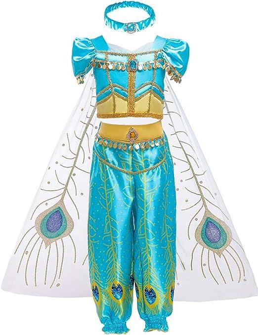 LOBTY Niña Aladdin Princesa Jasmine Disfraz Tops Pantalones Manga ...