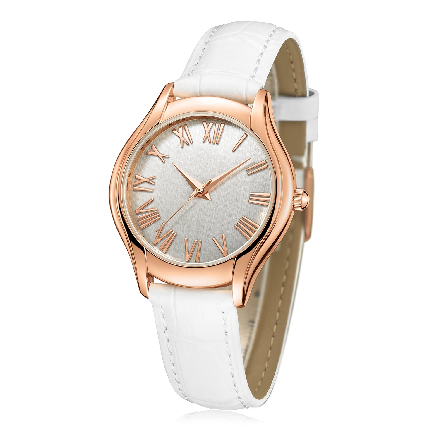 ATsense Women's Wrist Watch, Roman Numeral Rose Gold Simple Business Casual Fashion Classic Analog (Quartz) Watches With Genuine Leather Band C74615 (White)