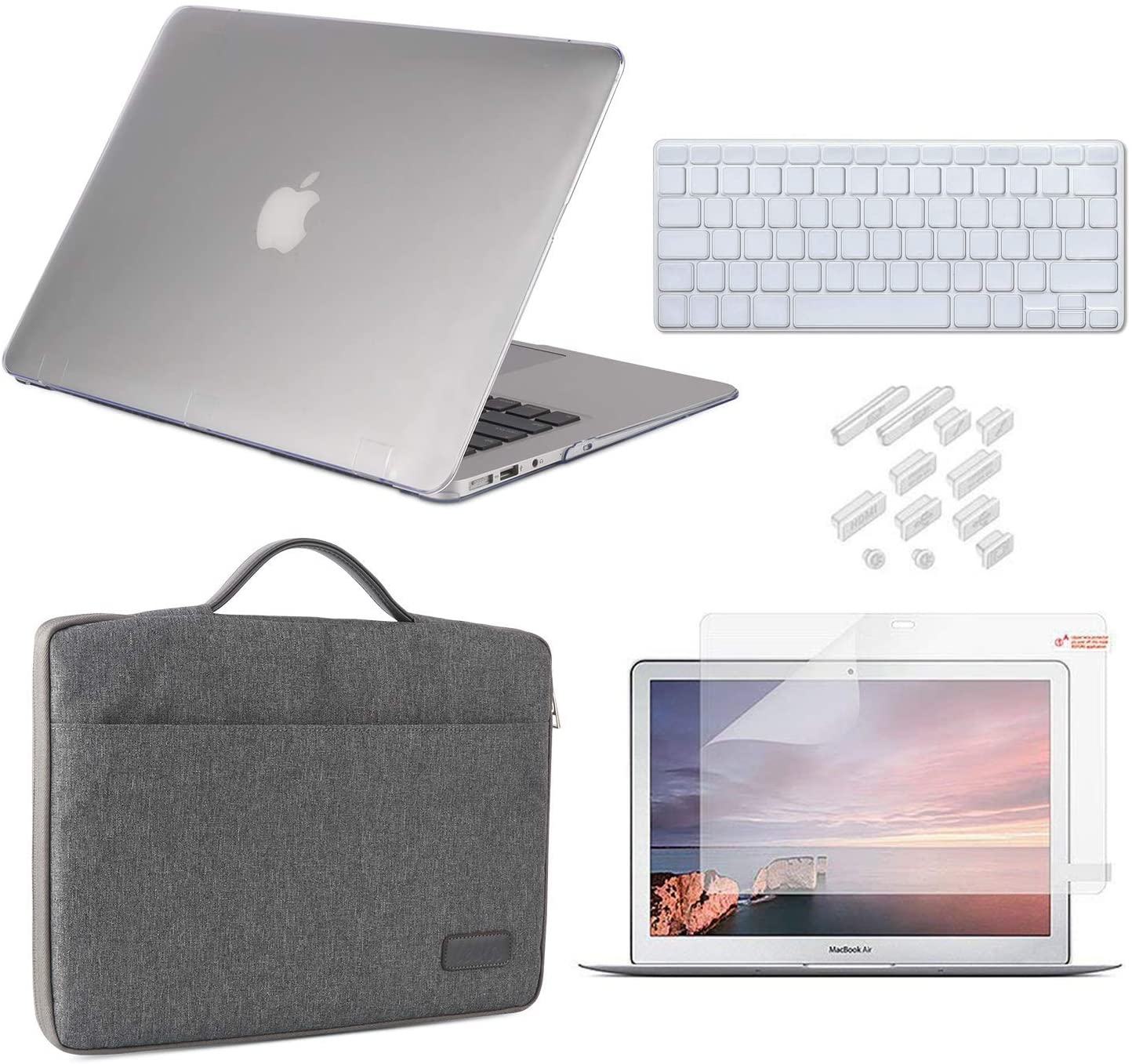 MacBook Air 13 Inch Case 2010-2017 Release Model A1369/A1466 Bundle 5 in 1, iCasso Hard Plastic Case, Sleeve, Screen Protector, Keyboard Cover & Dust Plug Compatible Old MacBook Air 13'' - Clear
