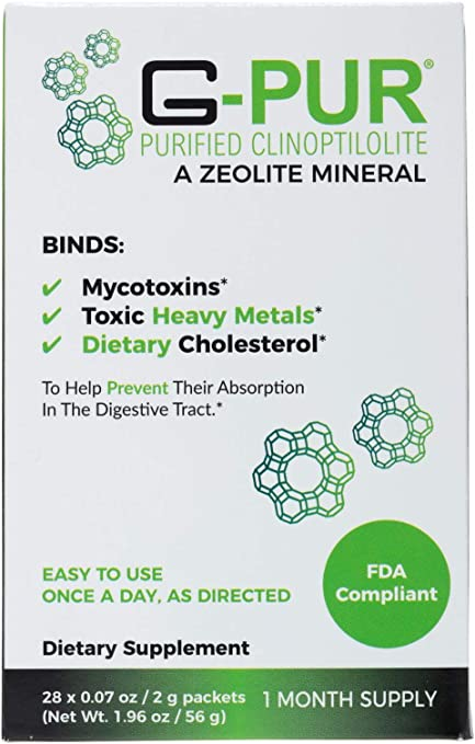 G-PUR Purified Clinoptilolite, A Zeolite Mineral. One Month Supply (28-2 Gram sachets)