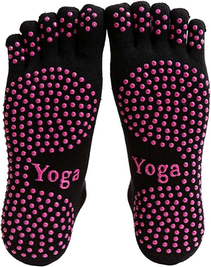 AUDAZIC Full Grip five toe covered Non-slip Yoga Socks Winter Warm Cotton Socks Sports Pilates Massage Socks 2 pairs